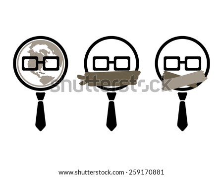 Three Nerd Icons with Globe, Bandit and Taped Mouths. - stock vector