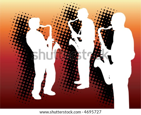Three nifty sax guys a on a gradated background - stock vector