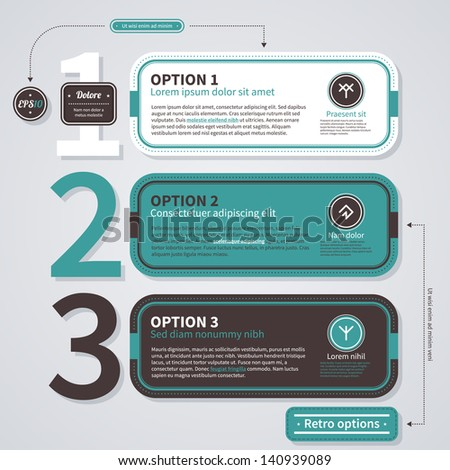 Three numbered options in retro style. EPS10. - stock vector