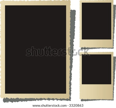 Three old nostalgic picture frame - stock vector