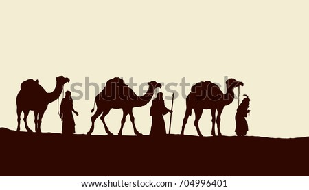 Three old orient Magi following east comet leading to new born holy baby Jesus Christ in Bethlehem present gifts gold, frankincense, myrrh. Black ink drawn backdrop card with space for text on sky