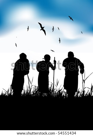 Three old people walk on nature together - stock vector