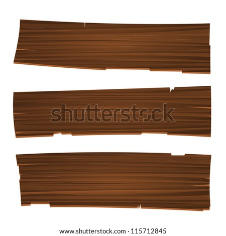 Three Old Planks - Vintage illustration of wood planks in brown colors - stock vector