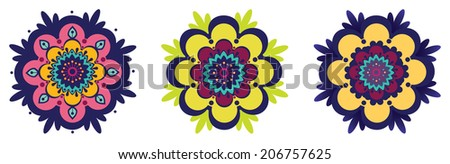 Three ornamental flowers - stock vector