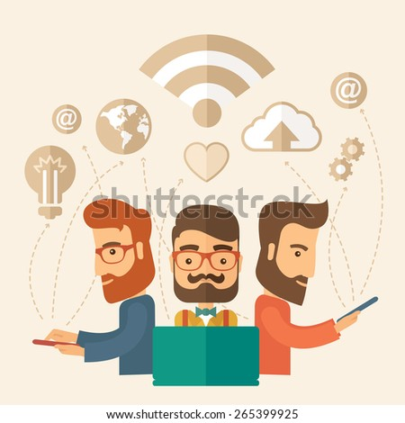 Three outstanding hipster Caucasian employees with beard discussing and sharing brilliant ideas, gathering an information, preparing for their marketing plan presentation using their tablets - stock vector