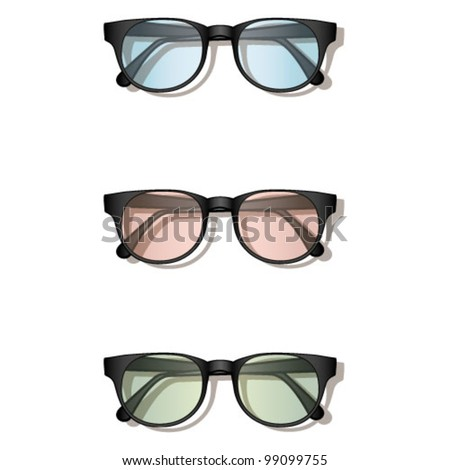 three pairs of glasses for vision - stock vector