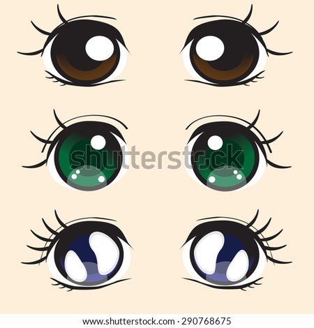 three pairs large eyes anime style stock vector 290768675