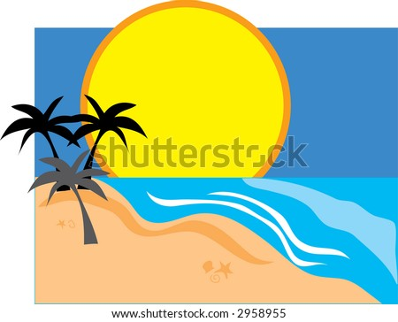 Three palm tree silhouettes against an sunset background