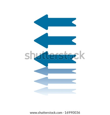Three Parallel Horizontal Arrows All Pointing Left Reflecting on Bottom Plane