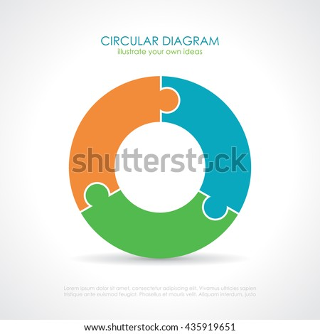 Three part circular puzzle diagram vector illustration isolated on white background - stock vector