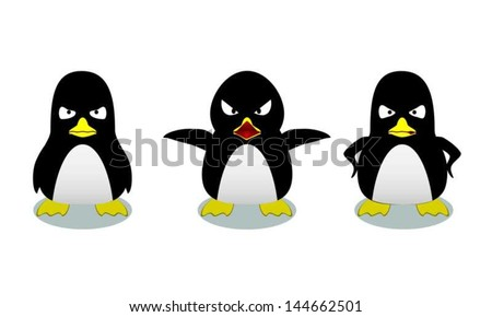 Three penguins in different levels of anger - stock vector