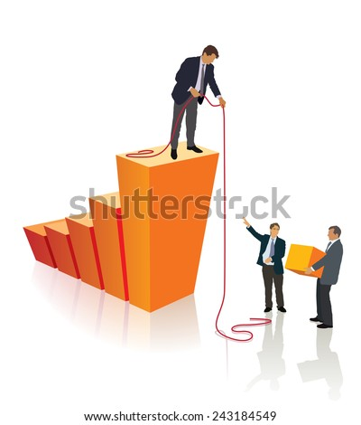 Three persons are working together, builds their own business. - stock vector