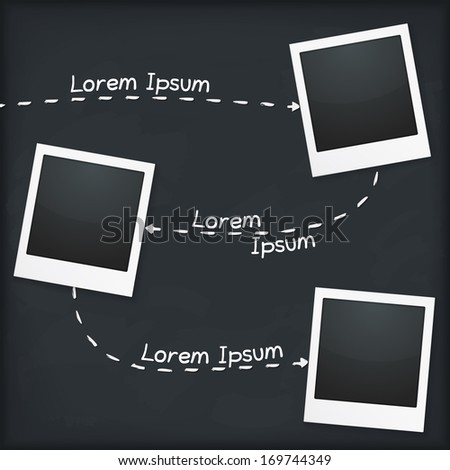 Three photo frames with place for your text, vector eps10 illustration