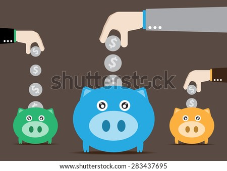 Three piggy banks with a dollar coin - stock vector
