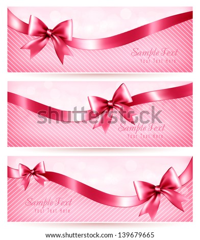 Three pink holiday banners with gift glossy bow and ribbon. Vector - stock vector