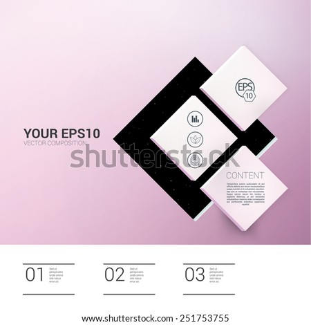 Three Pink Shapes on a Minimalist Pink Background.  Scalable EPS10 Vector Illustration  - stock vector