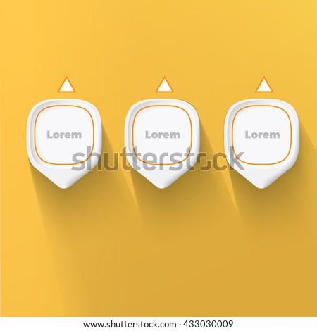 Three Pins List Elements Vector Design for Your Portfolio Presentation - stock vector