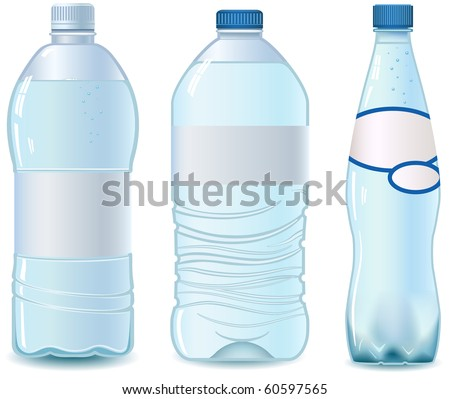 Three Plastic bottle of water. Isolated on white. Empty label. Vector