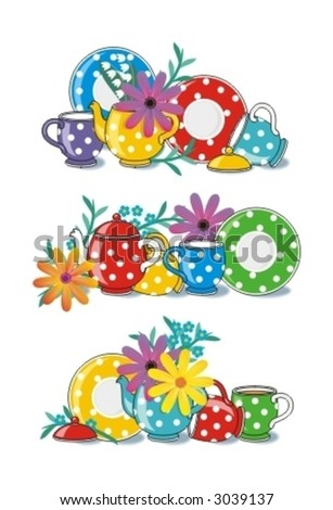 Three polka-dot teatime porcelain arrangements with flowers ( for high res JPEG or TIFF see image 3039107 )  - stock vector