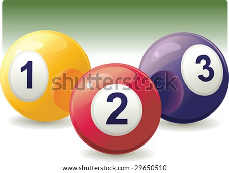 Three pool balls isolated on white