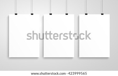 Three poster mockup - stock vector
