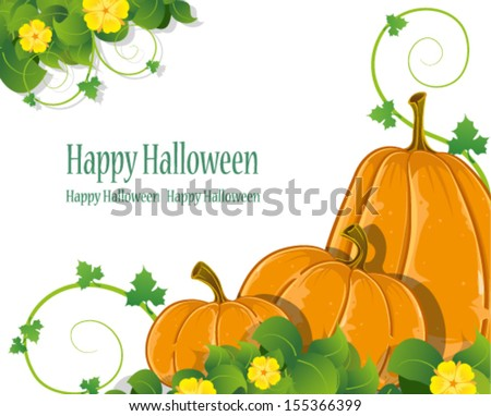 Three pumpkins of different forms with sprouts and leaves. Abstract Halloween background - stock vector