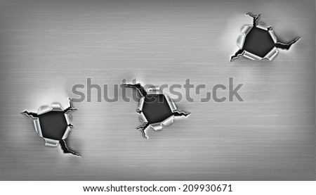 three ragged holes in the metal - stock vector