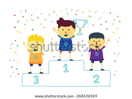 Three ranking winner kids proudly standing on the winning podium holding up winning trophy . Flat style - stock vector
