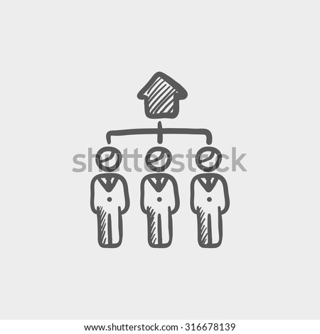 Three real estate agents sketch icon for web, mobile and infographics. Hand drawn vector dark grey icon isolated on light grey background. - stock vector