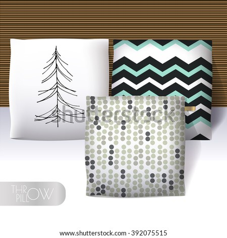 Three realistic 3d throw pillow models with different prints and patterns. Apartment interior design elements. Cushions collection isolated on a light background. - stock vector
