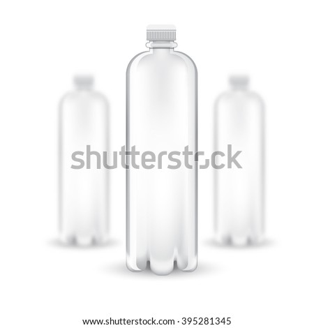Three realistic mock up white plastic bottle on white background. Vector illustration with depth of field effect - stock vector