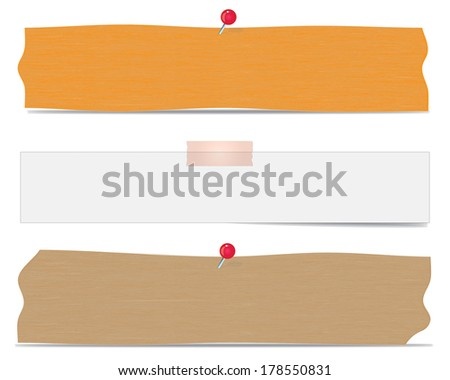 Three realistic post it notes on white wall. EPS10 vector. - stock vector