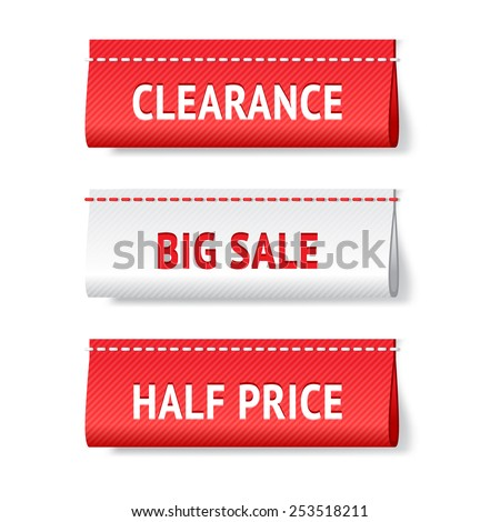 Three realistic textile red and white vector labels; big sale, clearance and half price  tags; bright shopping web design elements  - stock vector