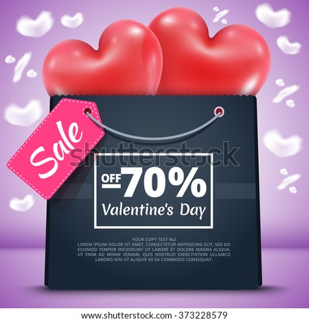 Three red balloons in the shape of a heart lifted sky with mega sale package gift vector illustration background blue sky clouds in shape percent - stock vector