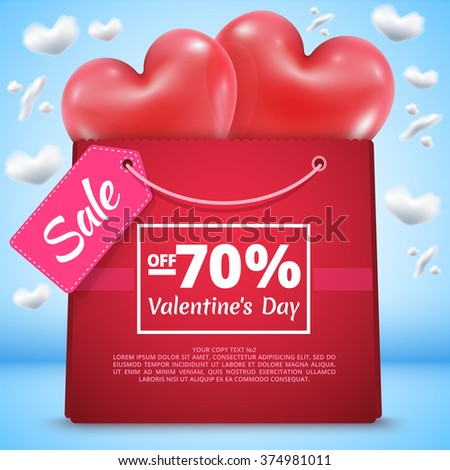 Three red balloons in the shape of a heart with mega sale bag present package gift vector illustration background blue sky clouds in shape percent - stock vector