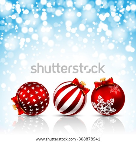 Three Red Christmas Balls on holiday background. Vector illustration.  - stock vector