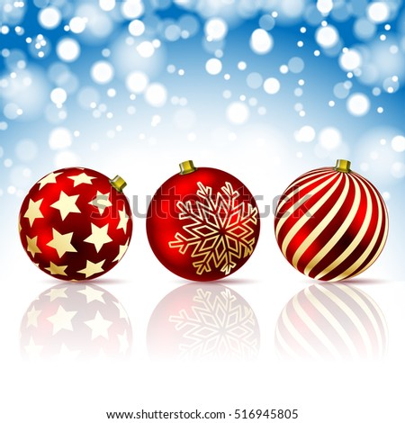 Three Red Christmas Balls on snowfall background. Illustration Vector