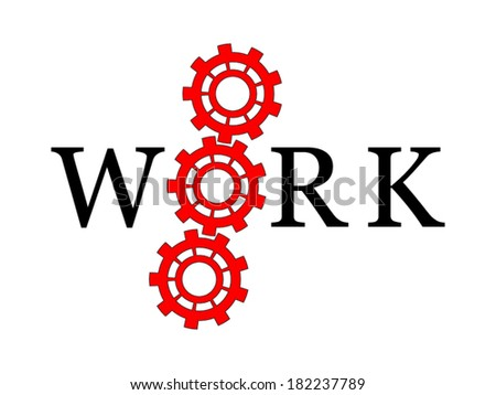 Three red cogs with letter on a white background - stock vector