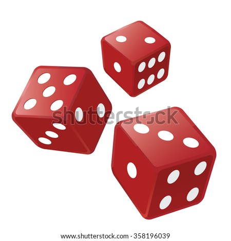 Three red dices. Illustration of three red casino dices isolated on the white background. Vector available.