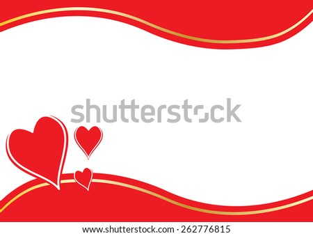 three red hearts with border and space in the middle - stock vector