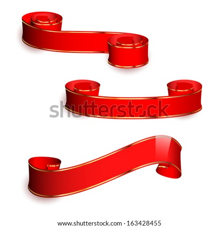 Three red ribbons - stock vector