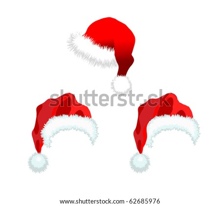 Three red Santa Claus Hat. Vector illustration isolated on white background.