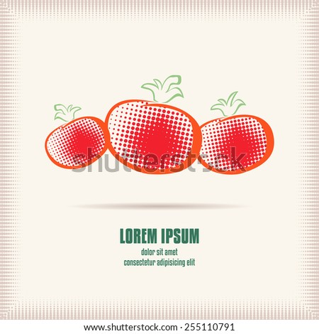 Three red tomatoes logo template. Fresh vegetables illustration halftone technique. Design element for logo or corporate identity. Concept for organic farm, food producer or cafe. Vector file is EPS8. - stock vector