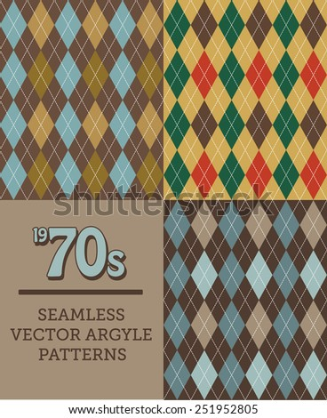 Three Retro 1970s-style Seamless Argyle Patterns.  Lumbersexual Man will Enjoy Nostalgic Retro Style When Dressed in Sweaters or Socks with this Tubular and Hip Chic, and Trendy Old-Fashioned Pattern. - stock vector