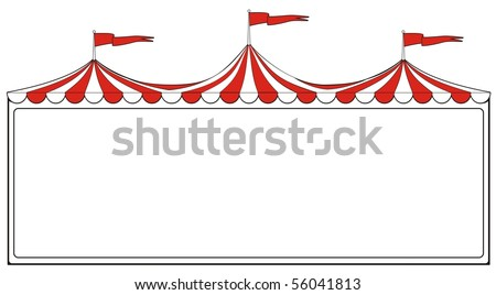 Three ring circus tent sign for advertising or promotion or carnival signs - stock vector