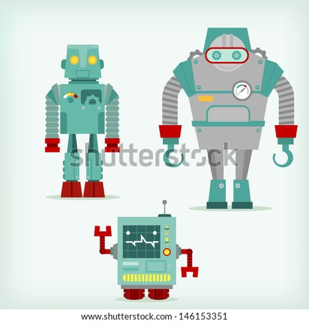 Three robots - stock vector
