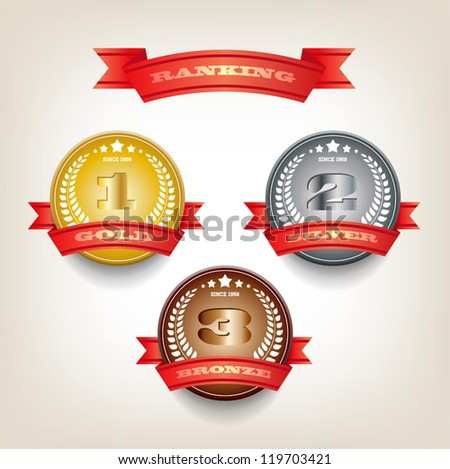 Three round vector badges collection with red ribbons - ranking gold, silver and bronze, first second third places - stock vector
