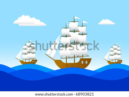 Three sailboats on a blue sea - stock vector