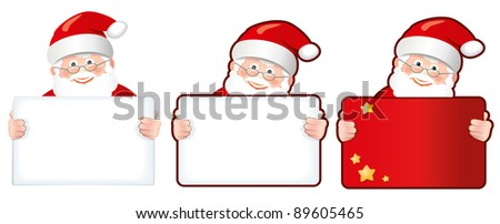three Santas holding signs