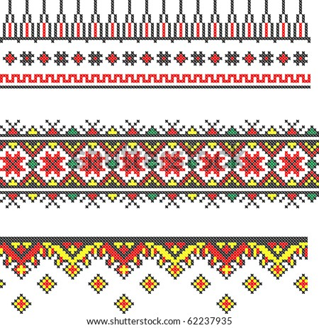 three seamless embroidered good like handmade cross-stitch ethnic Ukraine pattern - stock vector